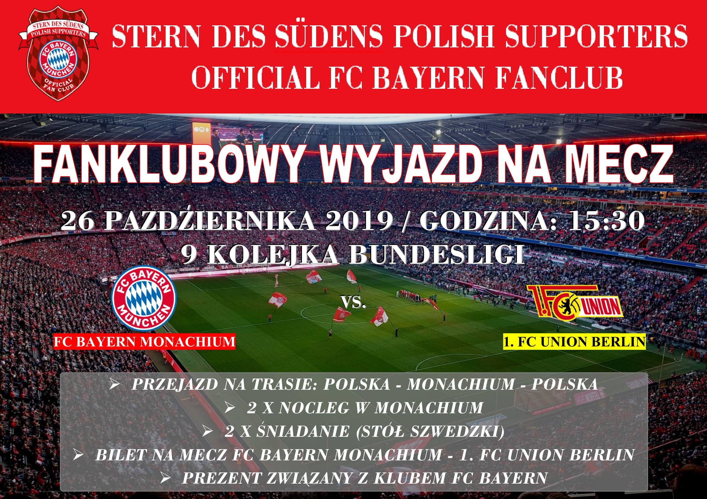26.10.2019 Zapraszamy do udziału w fanklubowym wyjeździe na mecz FC Bayern Monachium – 1. FC Union Berlin